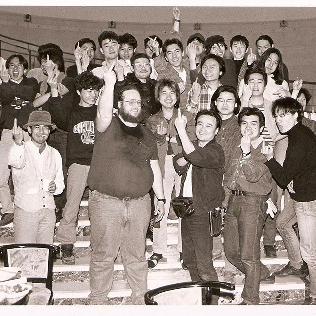 Dave Jones and Japanese friends say hello from Spiral Hall, Tokyo during installation of DIG, 1992. Photo: Mark McLoughlin. (Archives) .