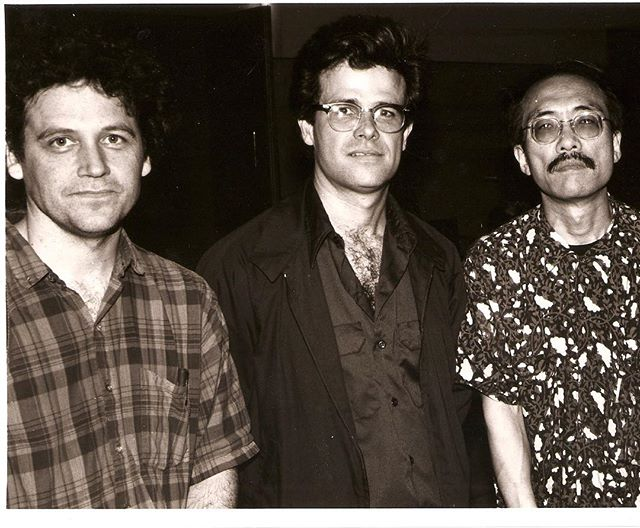 Gary Hill, Mark Pauline, Ko Nakajima at the Delicate Technology Television Festival, Spiral Hall, Tokyo, 1989. Photo: Mark McLoughlin (archives).